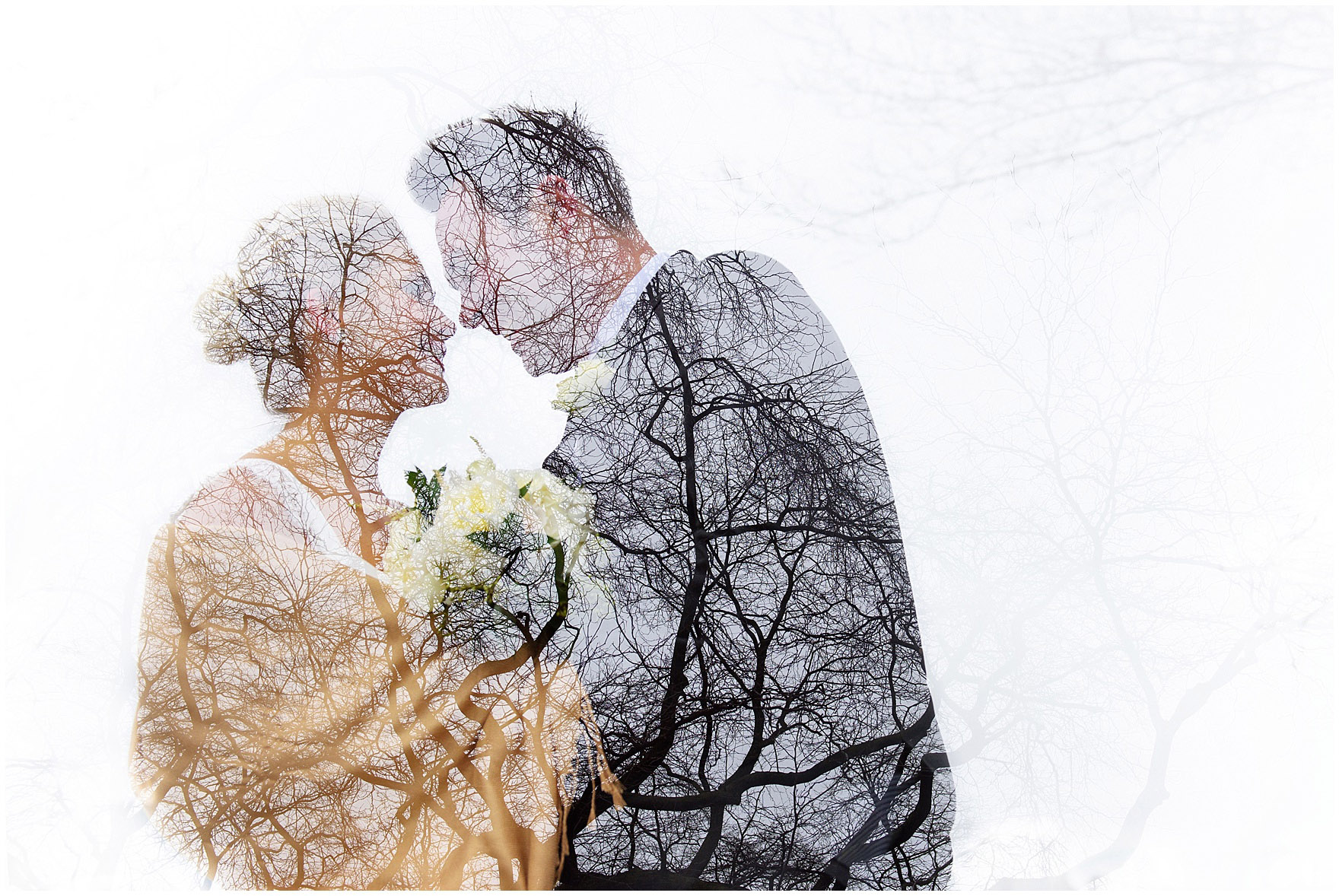 A double exposure photograph of a bride and groom against bare spring branches prior to their Ovation Chicago wedding.