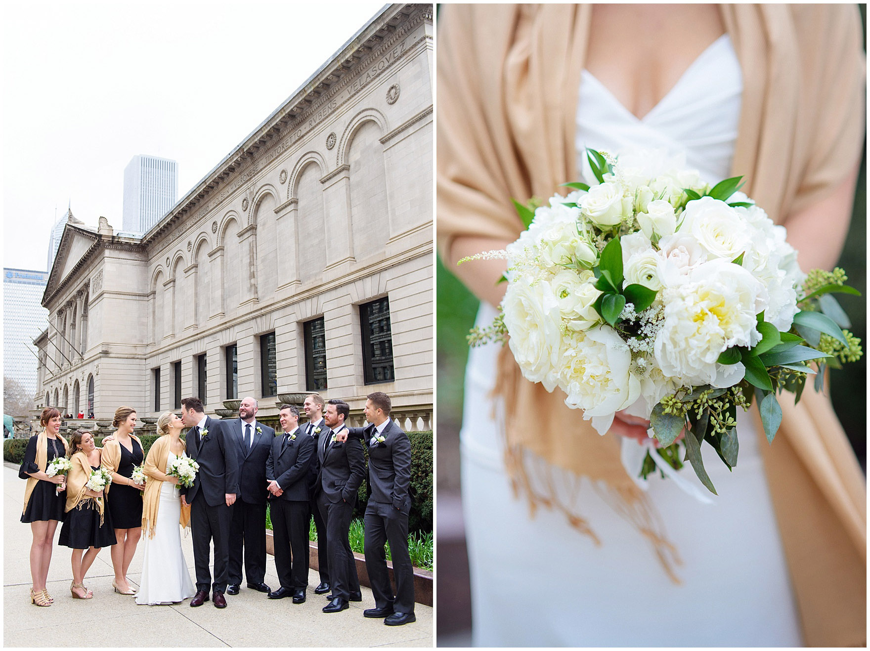 Detail of a Field & Florist bridal bouquet and a bridal party in front of the Art Institute of Chicago prior to an Ovation Chicago wedding.