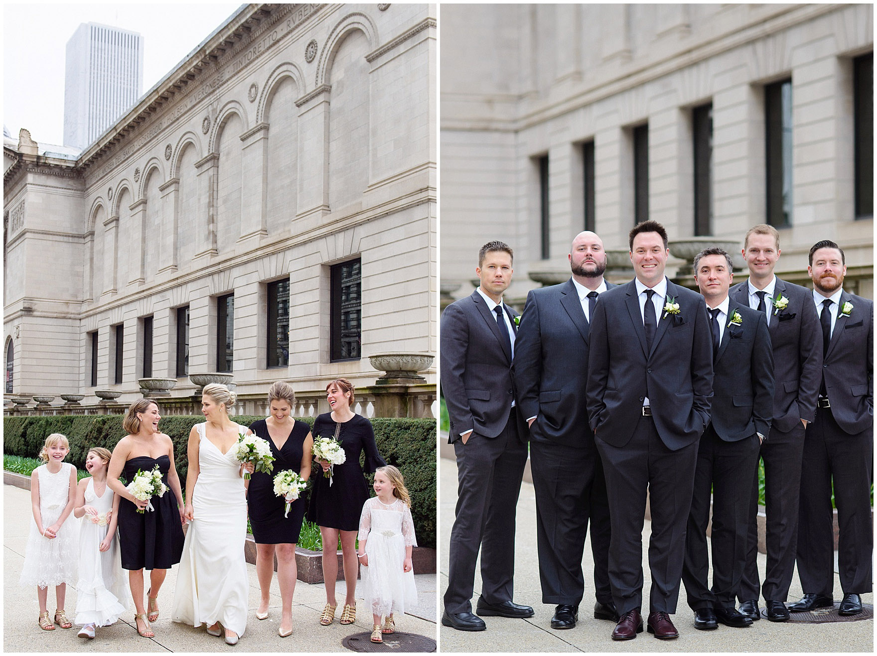 Bridesmaids and groomsmen pose with a bride and groom in front of the Art Institute of Chicago prior to an Ovation Chicago wedding.