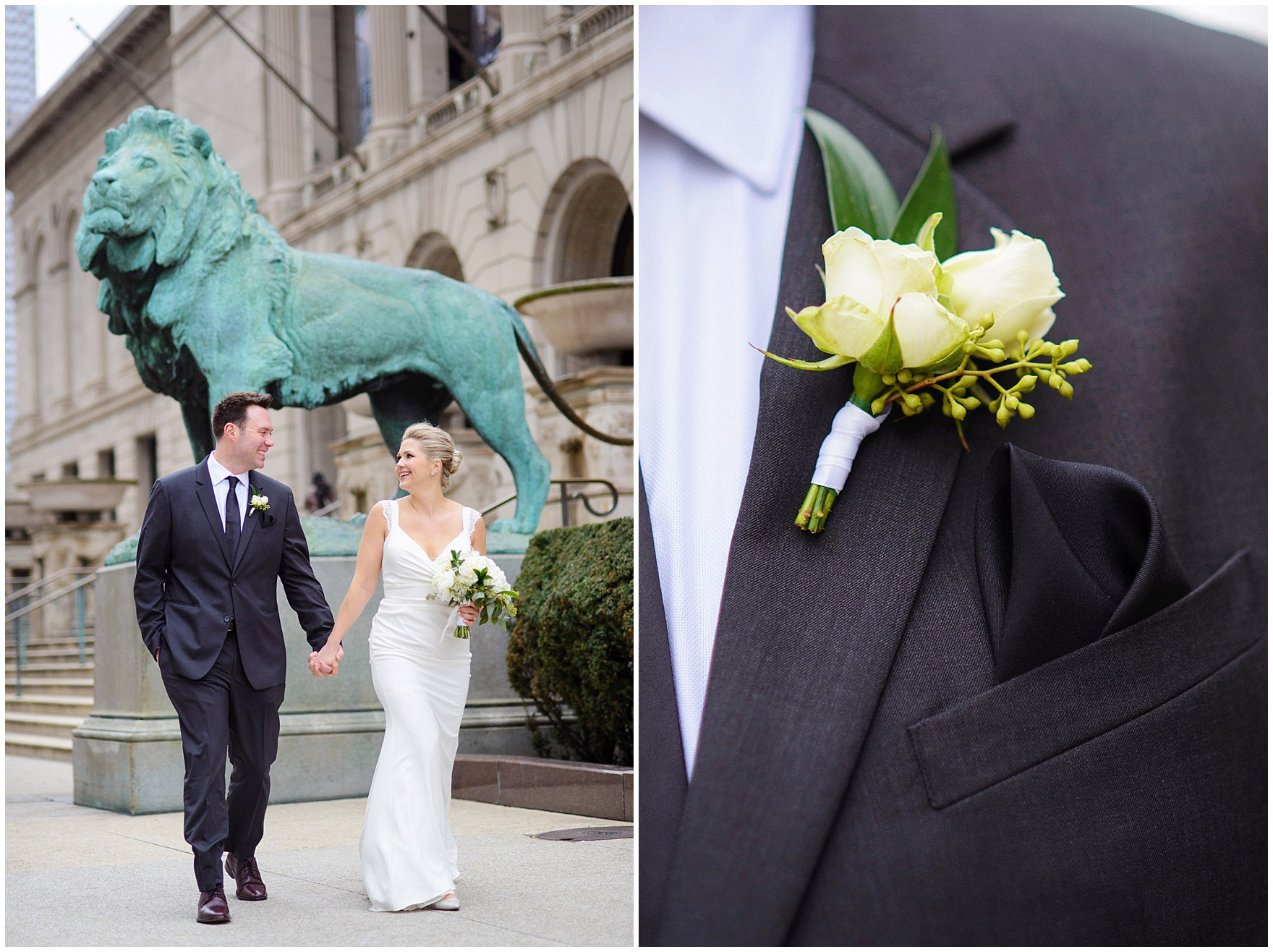 A bride and groom walk in front of the Art Institute of Chicago prior to an Ovation Chicago wedding.