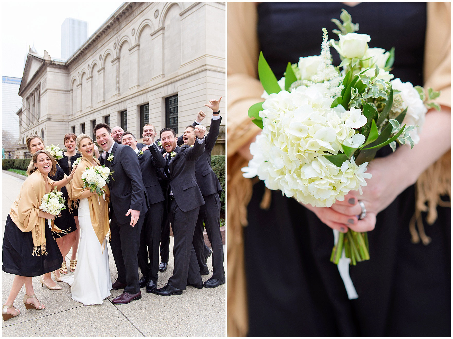 A bridal party poses for wedding photographs in front of the Art Institute of Chicago prior to an Ovation Chicago wedding.