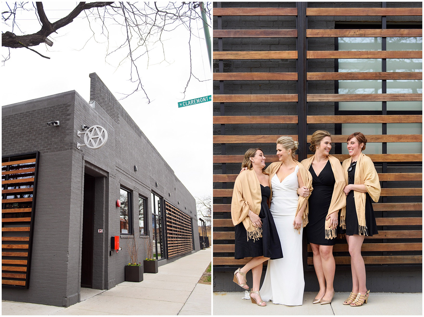 A bridal party poses outside the venue before an Ovation Chicago wedding.