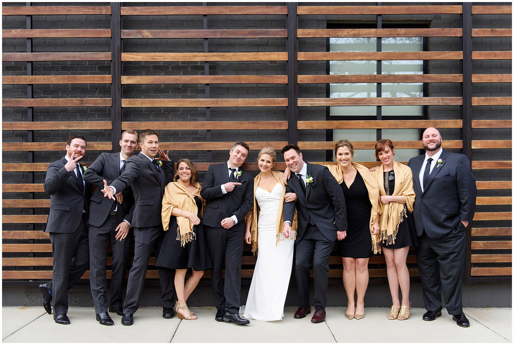 A bridal party poses before an Ovation Chicago wedding.