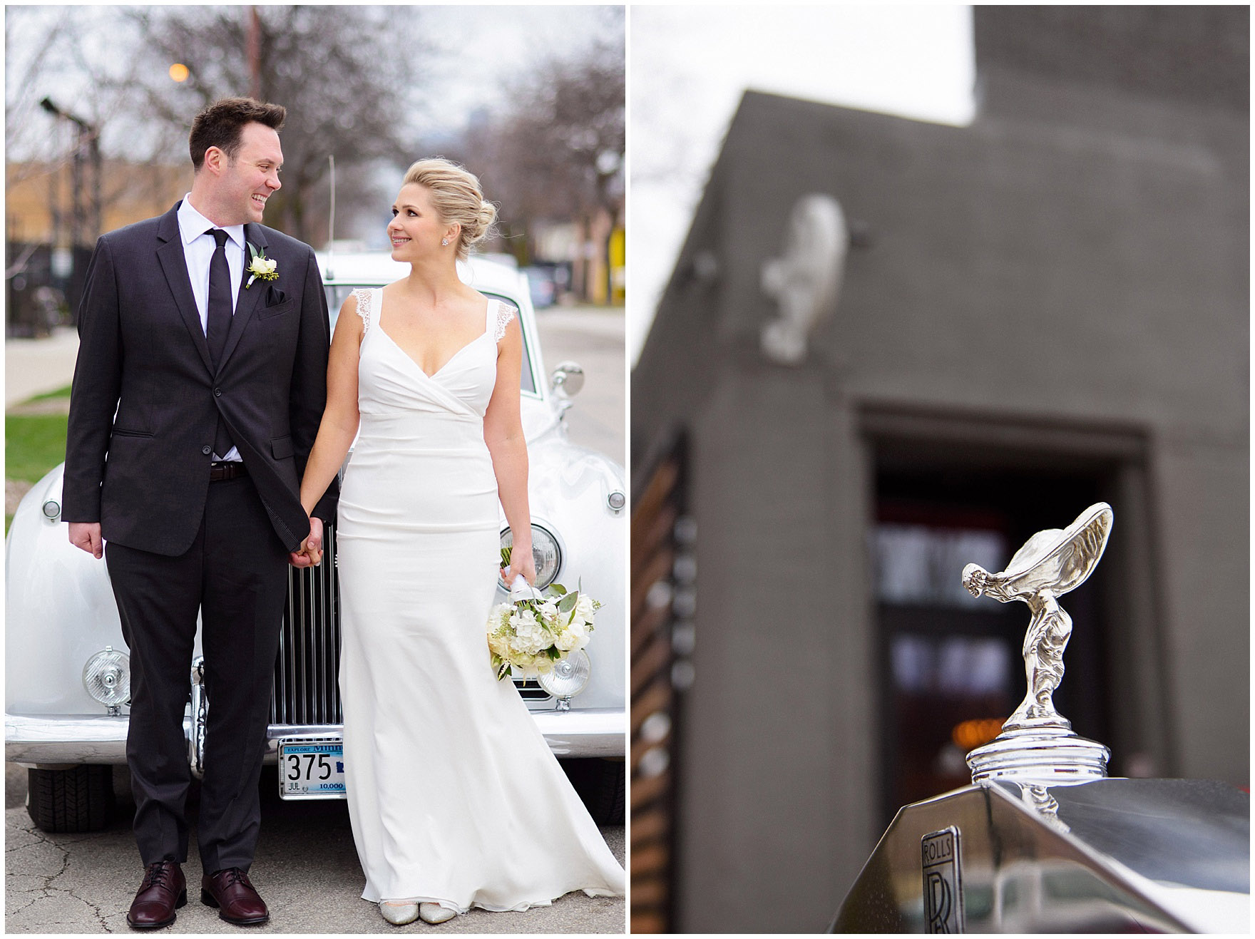 A bride and groom pose with a vintage Rolls Royce before an Ovation Chicago wedding.