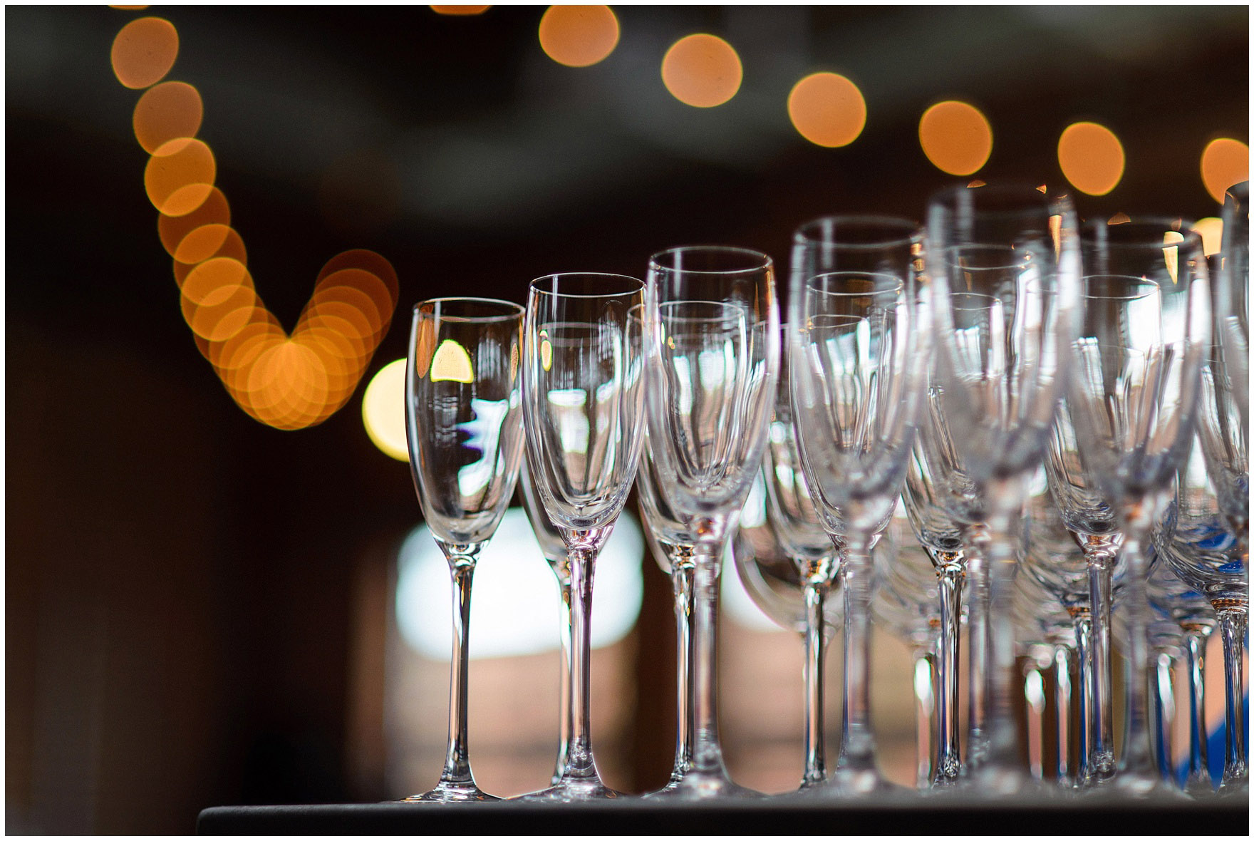 Champagne glasses are ready for an Ovation Chicago wedding.