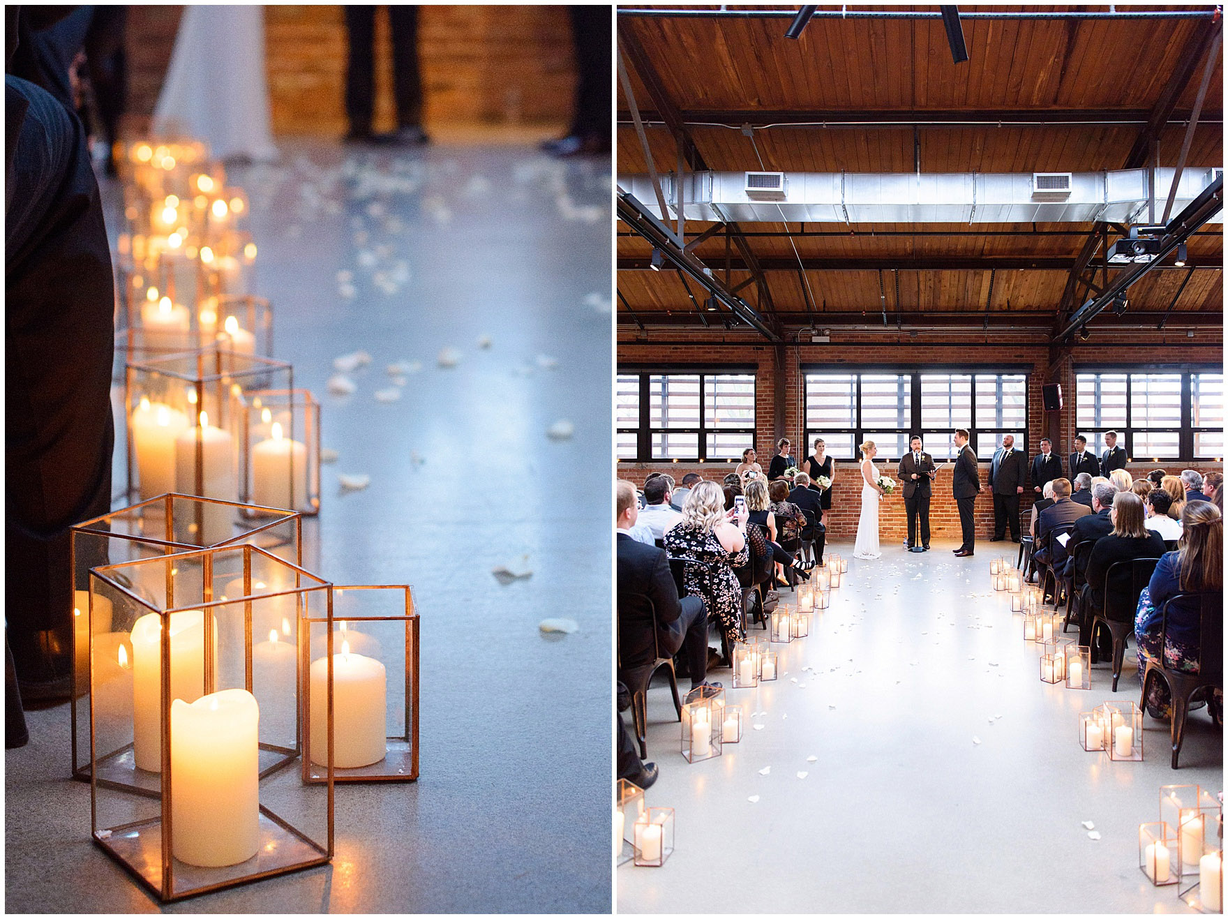 A bride and groom say their vows in front of a candlelit aisle during the ceremony for an Ovation Chicago wedding.