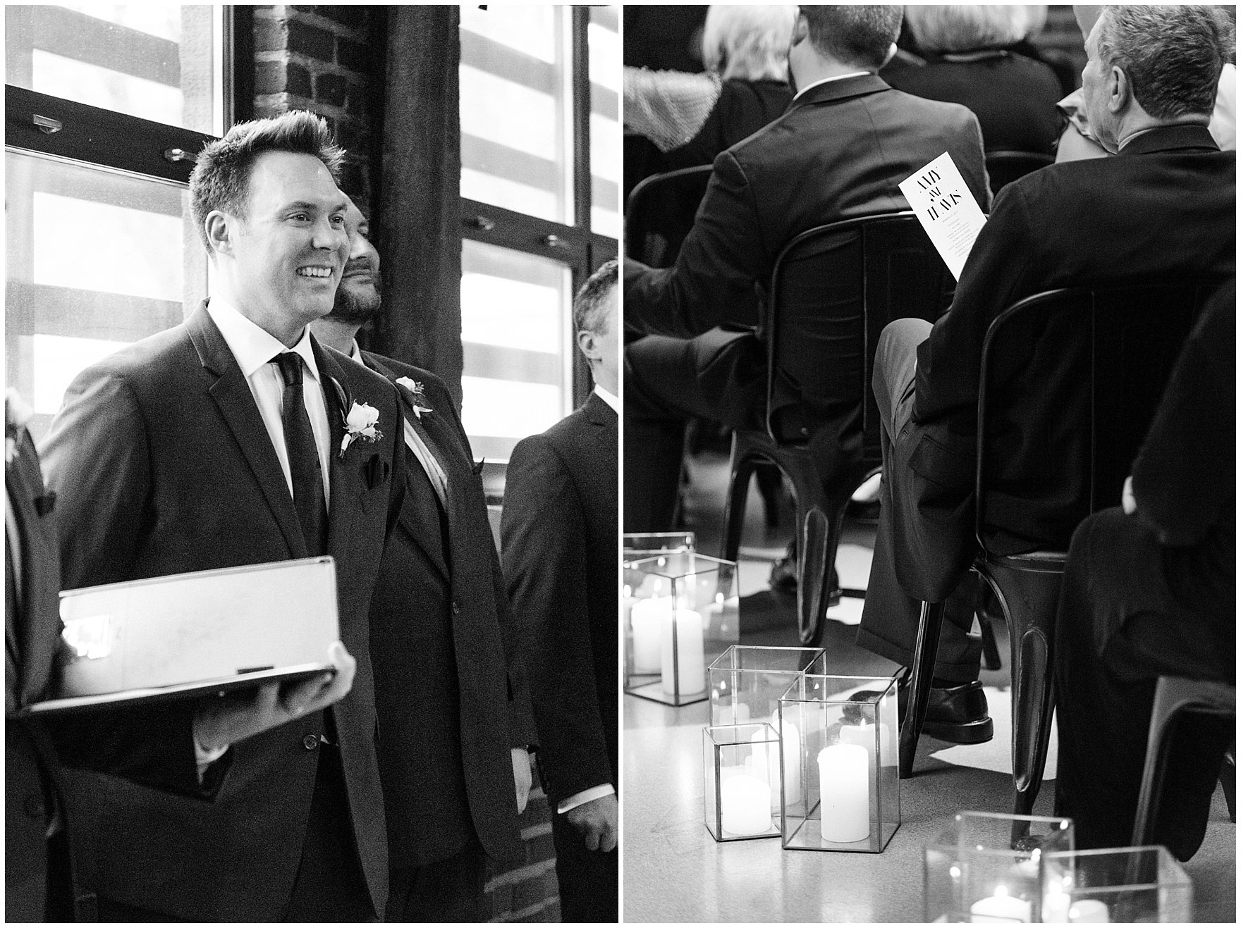 A groom watches his bride walk down the aisle during the ceremony for an Ovation Chicago wedding.