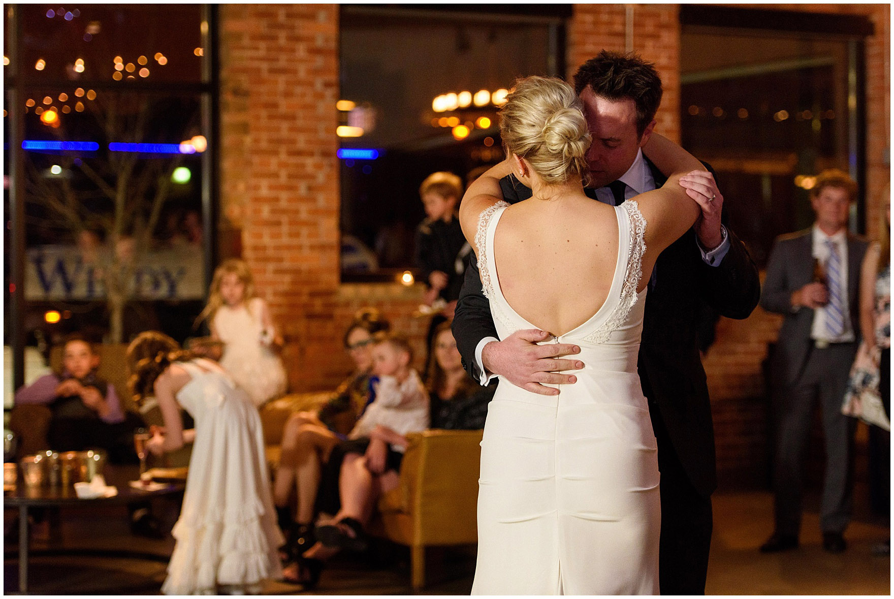 A bride and groom share their first dance at their Ovation Chicago wedding.