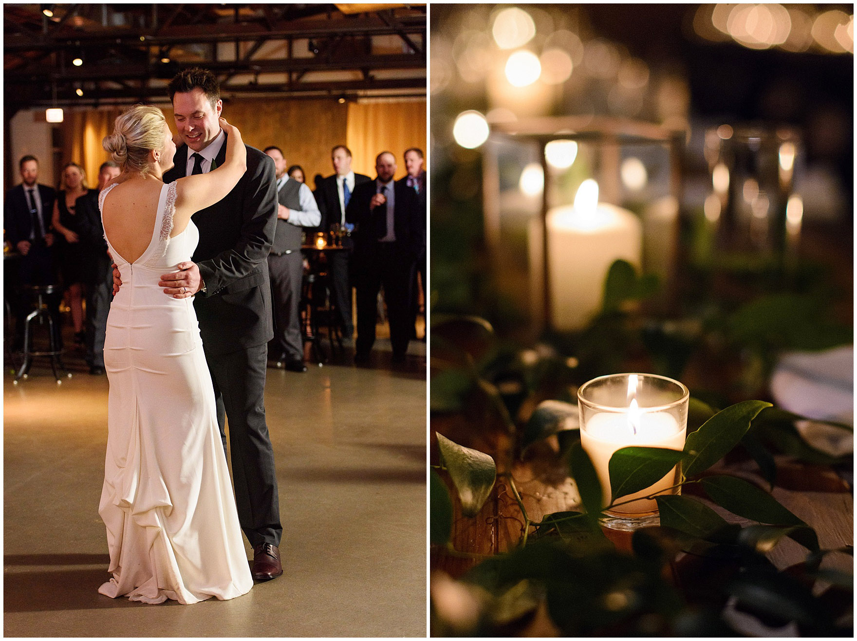 A newlywed couple shares their first dance at an Ovation Chicago wedding.