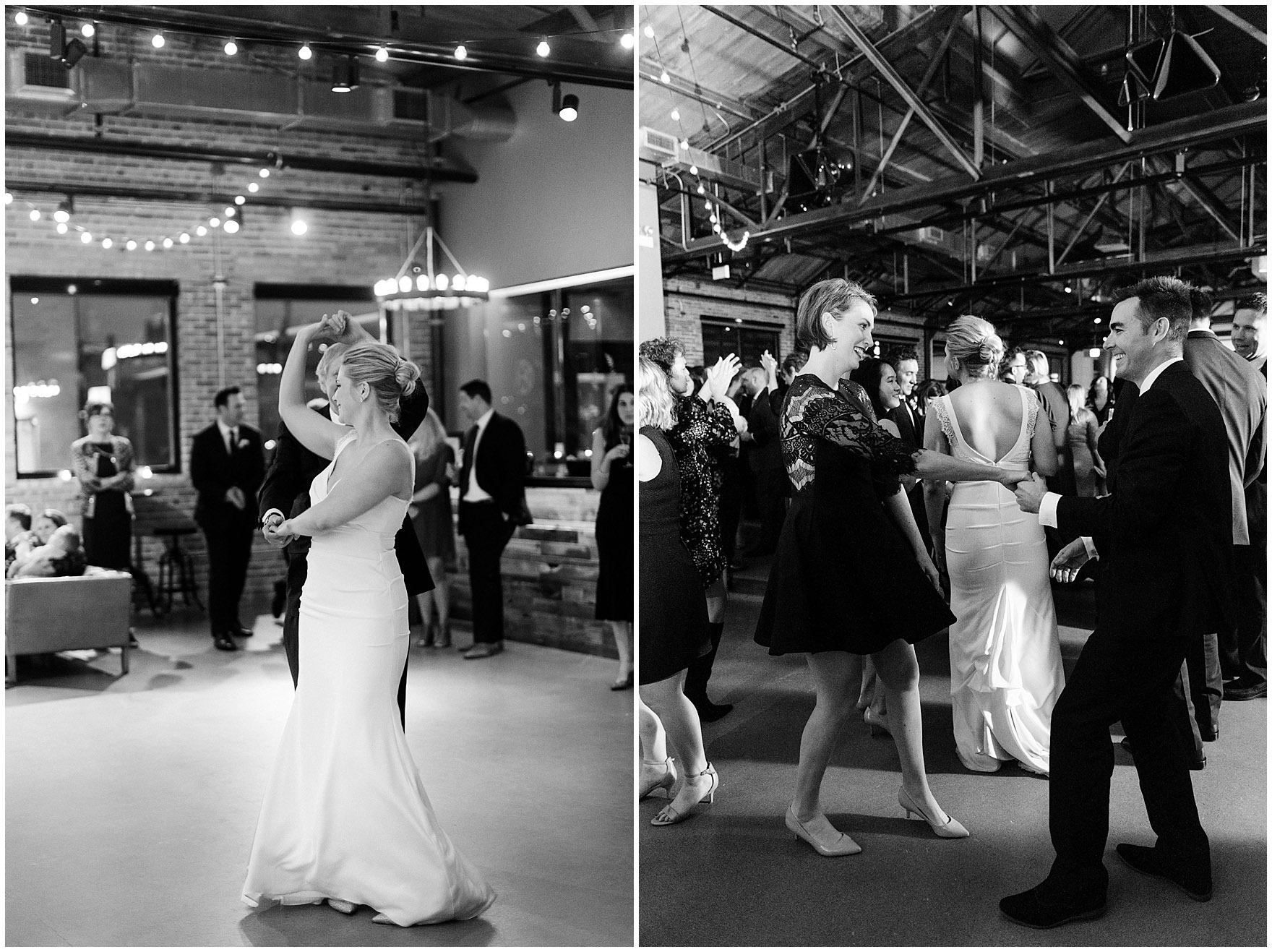 Guest party on the dance floor during an Ovation Chicago wedding.