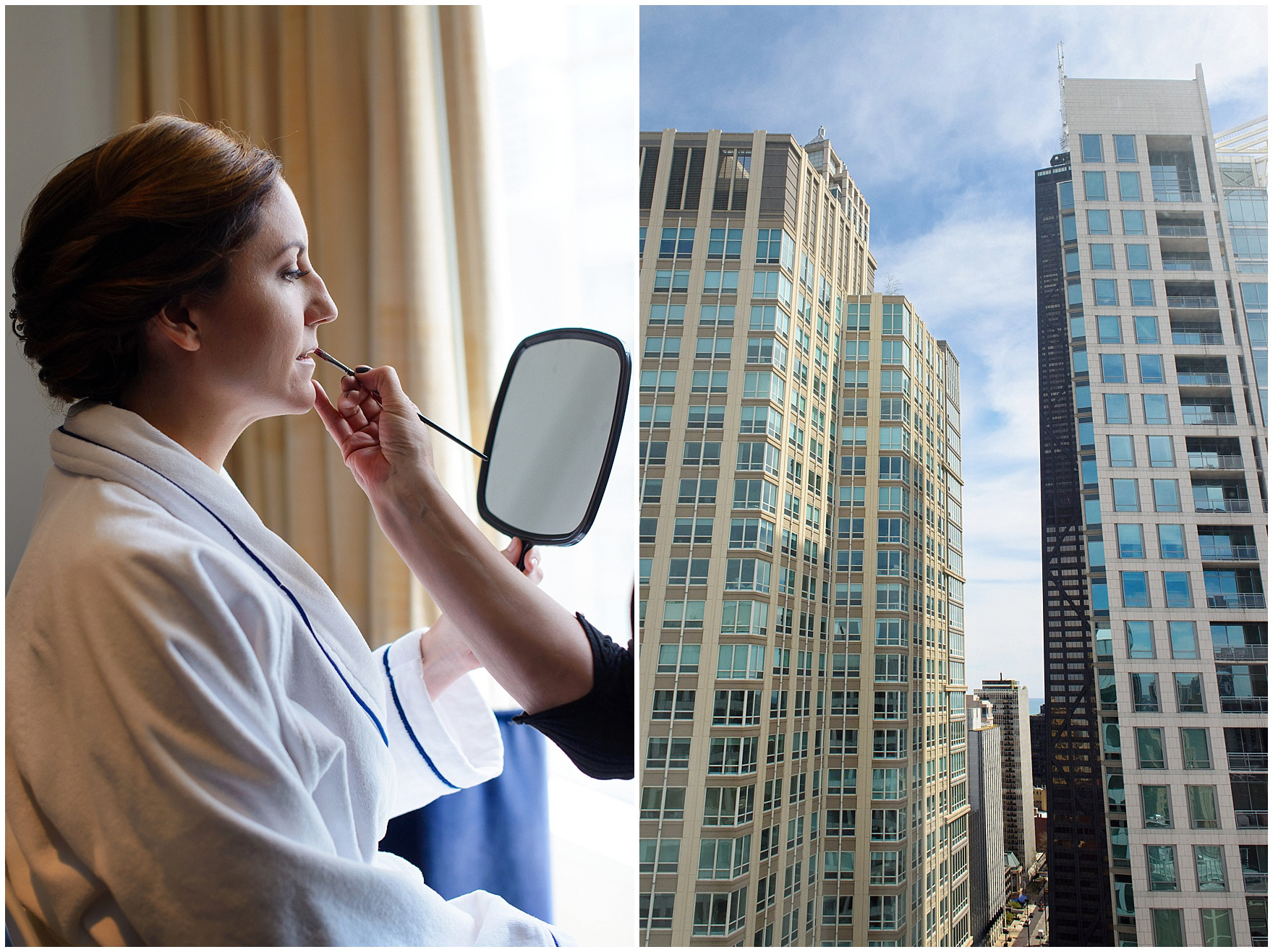 The bride gets her makeup done at the Sofitel Chicago, before their St. Nicholas Ukrainian Church and downtown Chicago East Bank Club wedding.
