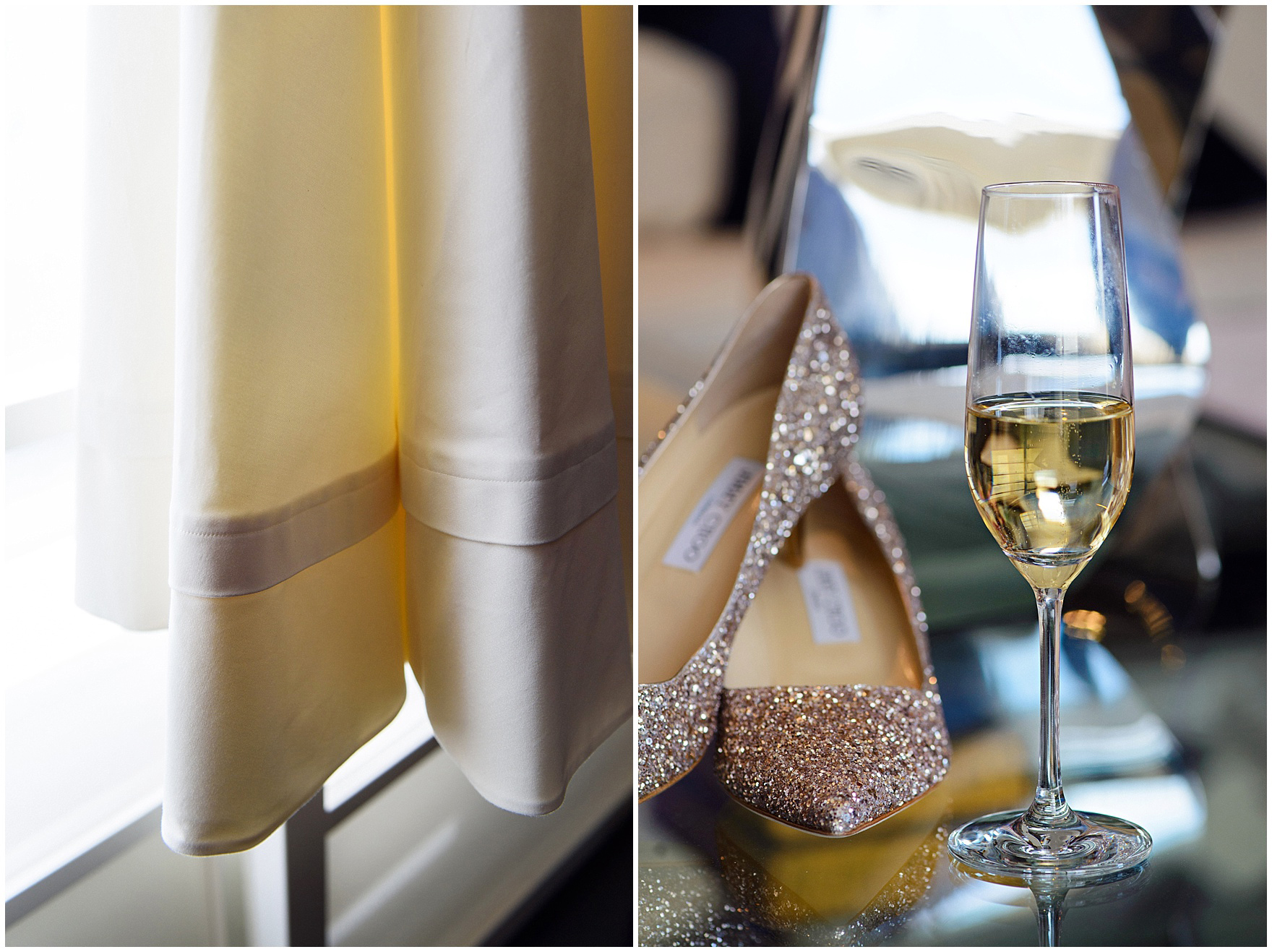 Details of a wedding dress and champagne glass, before their St. Nicholas Ukrainian Church and downtown Chicago East Bank Club wedding.