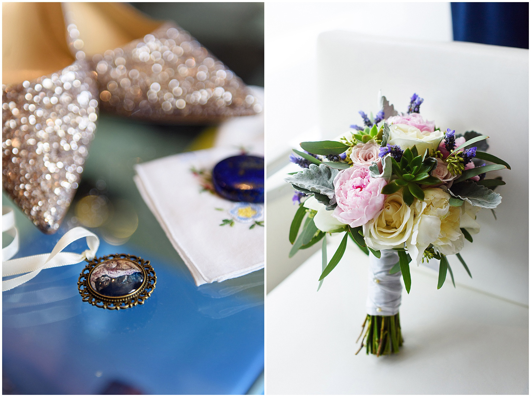 Detail shots of wedding accessories and a bridal bouquet, before their St. Nicholas Ukrainian Church and downtown Chicago East Bank Club wedding.