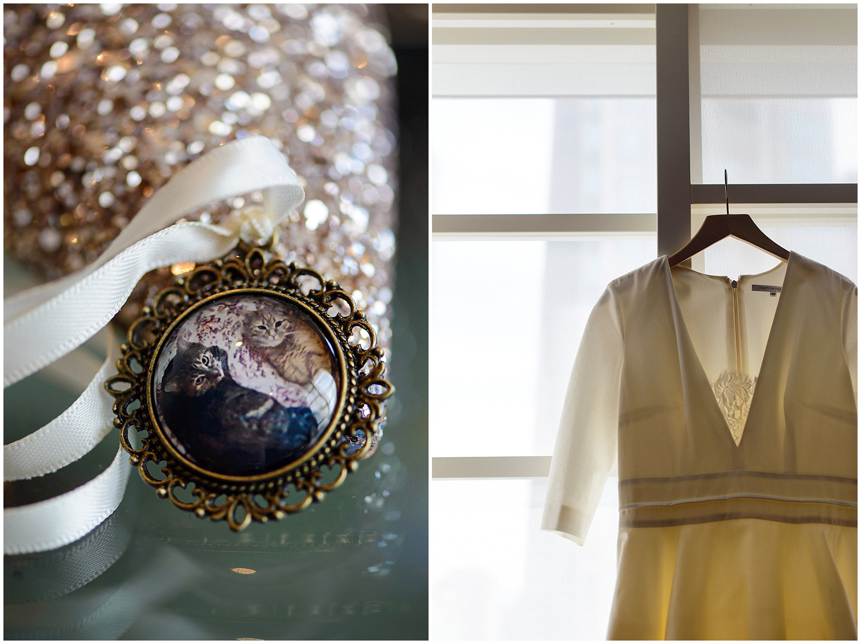 Details of the bride's dress and accessories, before their St. Nicholas Ukrainian Church and downtown Chicago East Bank Club wedding.