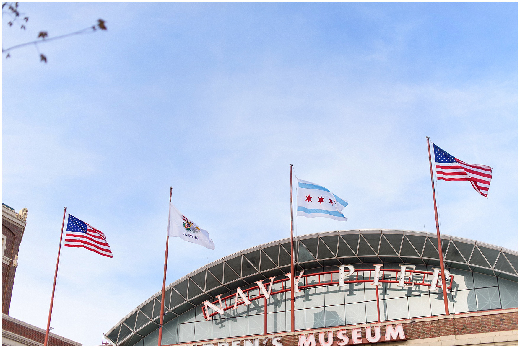Exterior of Navy Pier during a Chicago Navy Pier engagement photography session.