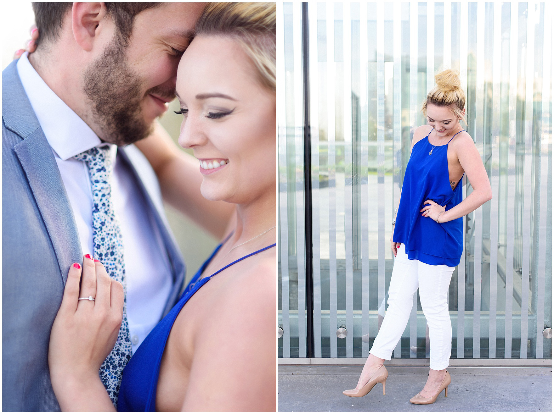 Portraits of a newly-engaged couple during a Chicago Navy Pier engagement photography session.