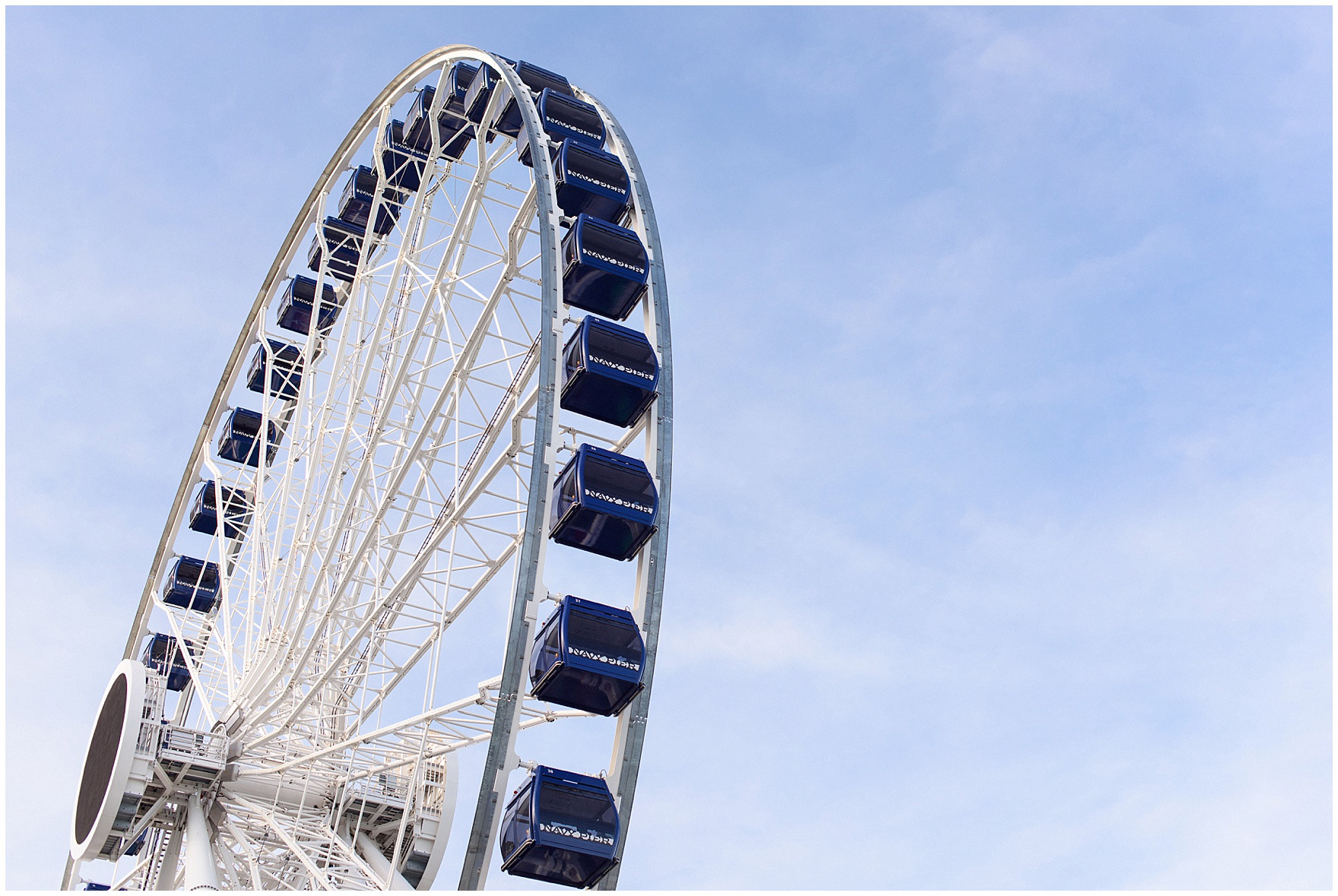 Photo of the Centennial Wheel during a Chicago Navy Pier engagement photography session.