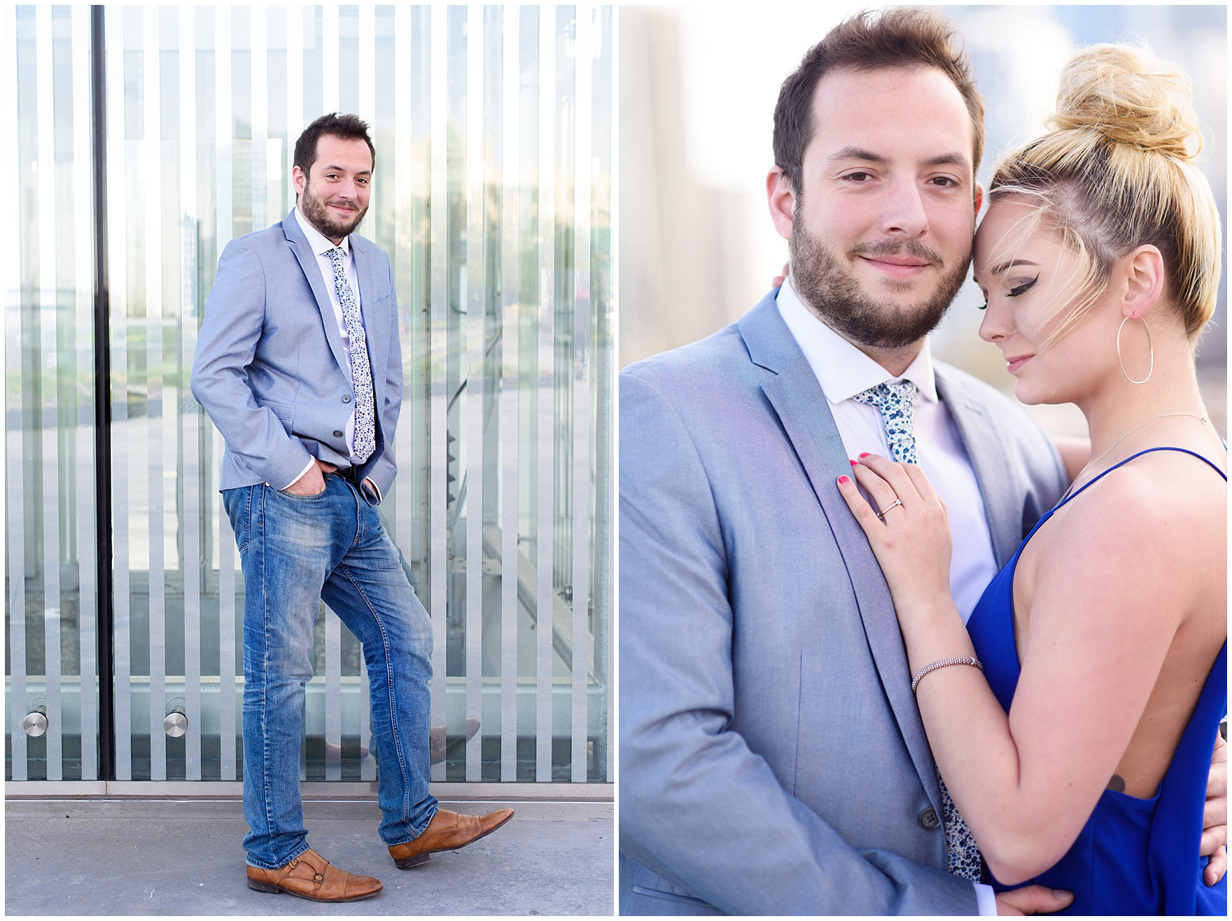 Portraits of the bride and groom to be during a Chicago Navy Pier engagement photography session.