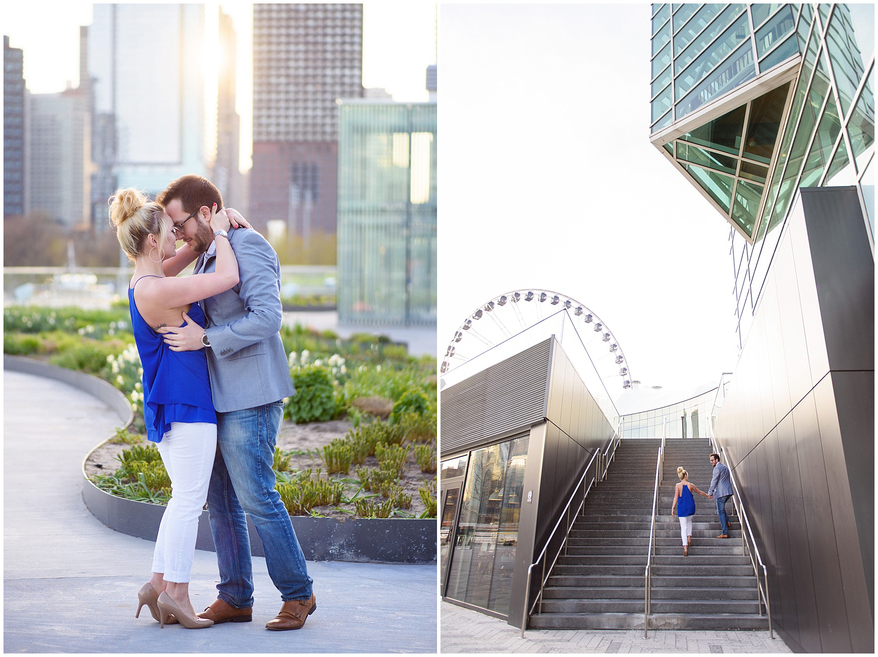 A couple embraces in the late afternoon light during a Chicago Navy Pier engagement photography session.