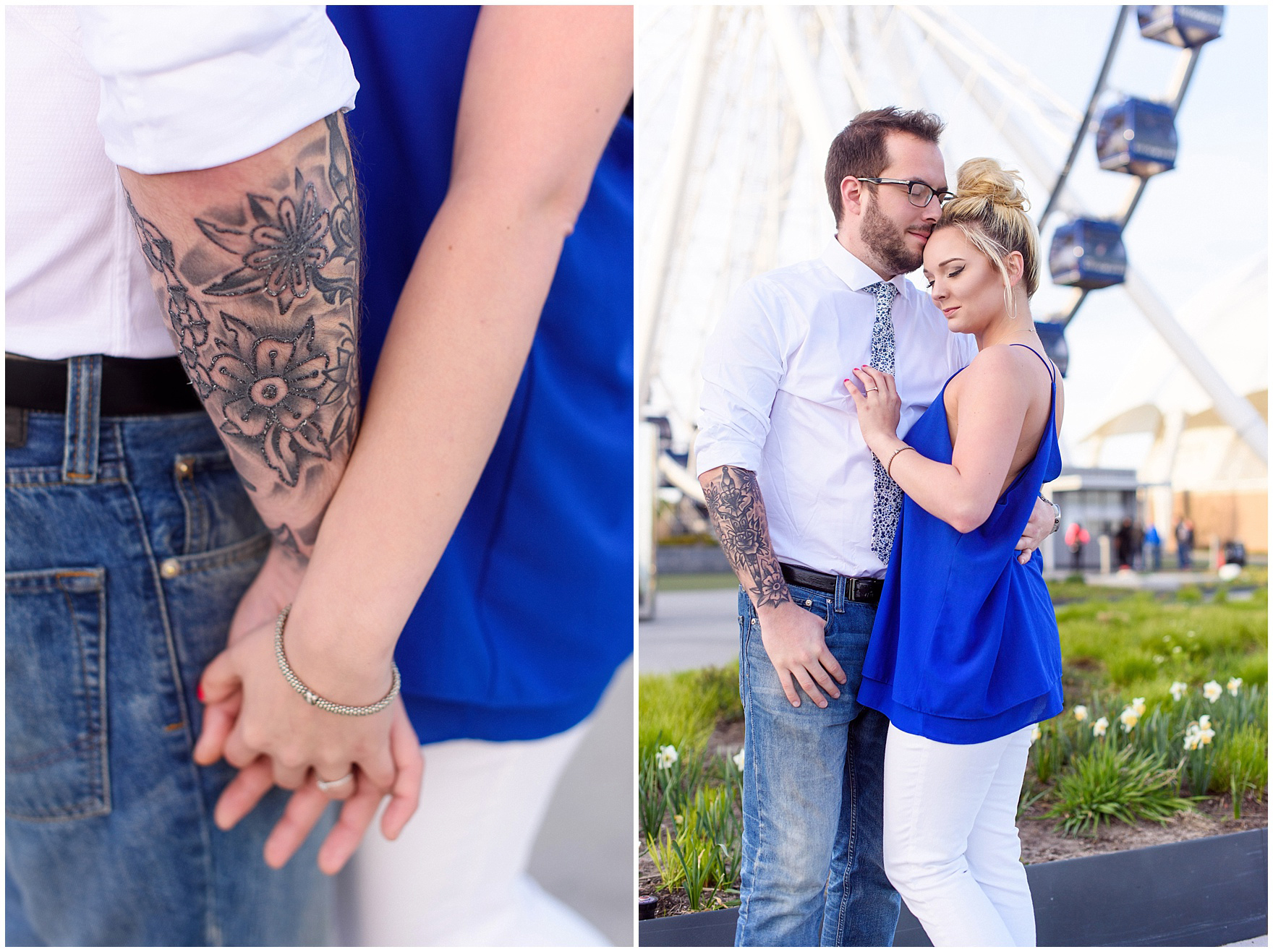 A couple poses in front of the Centennial Wheel during a Chicago Navy Pier engagement photography session.
