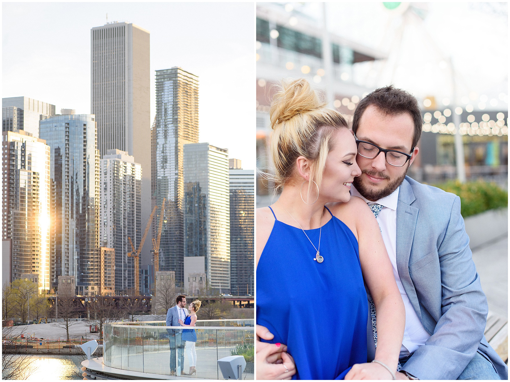 A couple stands in front of Chicago's high rises at sunset, during a Chicago Navy Pier engagement photography session.