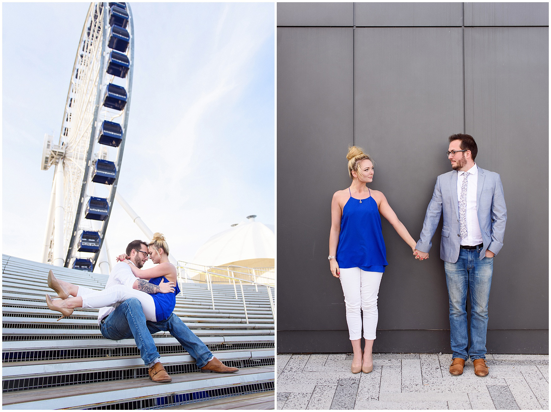 A bride and groom to be sit in front of the ferris wheel during a Chicago Navy Pier engagement photography session.