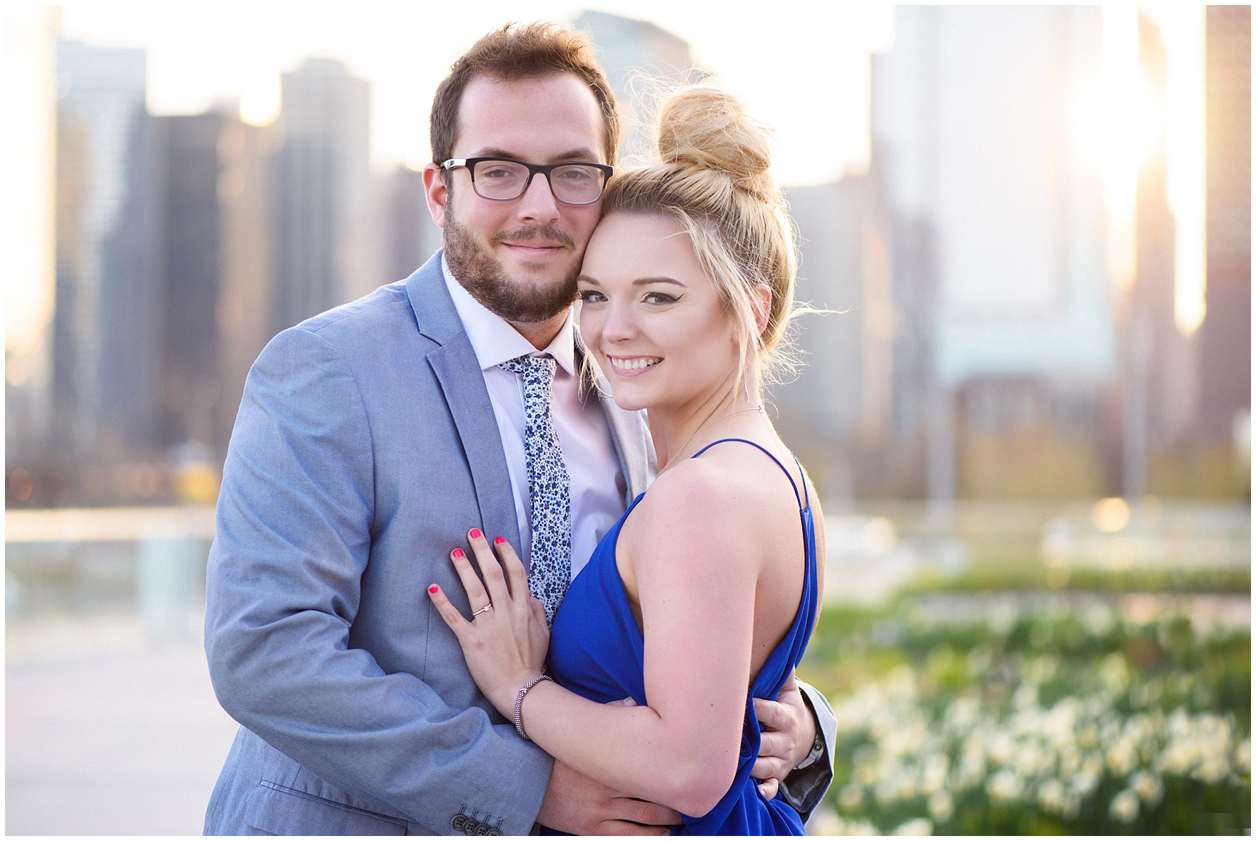 A portrait of the engaged couple during a Chicago Navy Pier engagement photography session.
