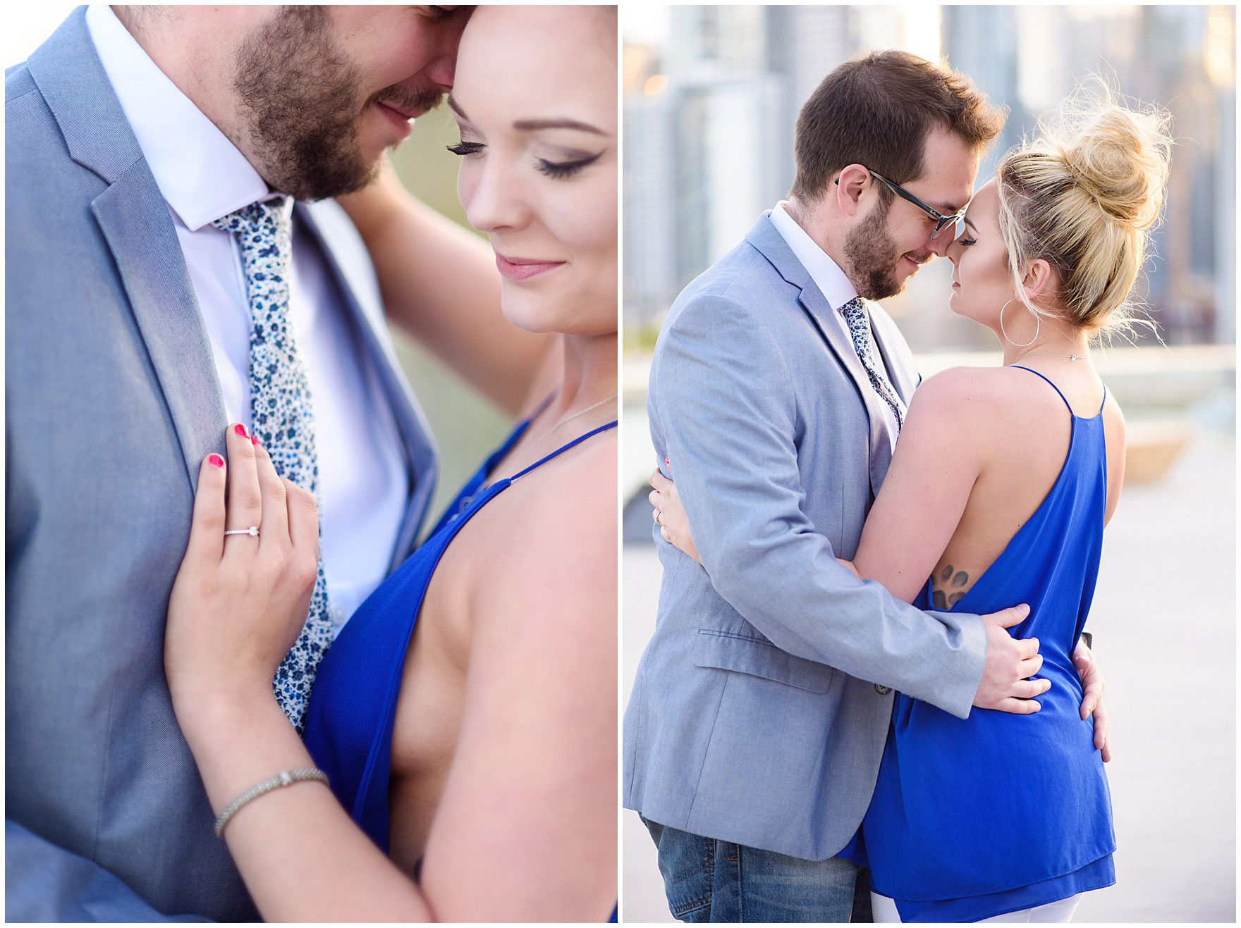 A bride and groom to be embrace during a Chicago Navy Pier engagement photography session.