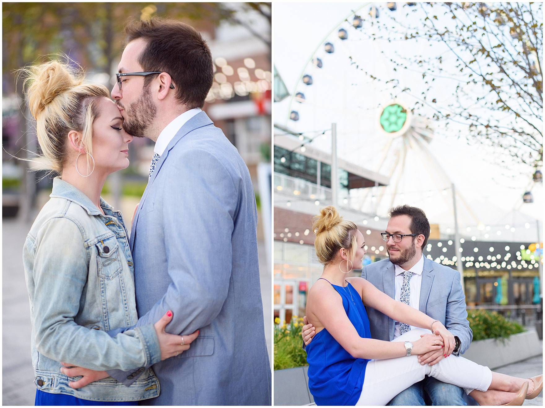 Portraits taken during a Chicago Navy Pier engagement photography session.