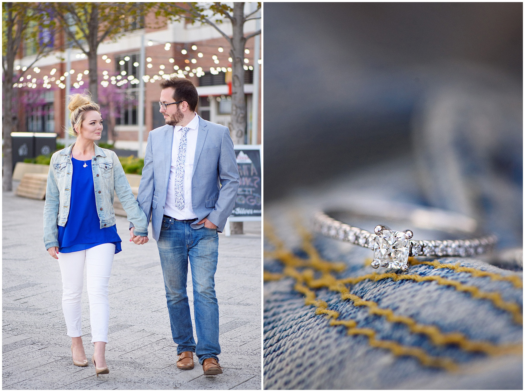 Detailed photograph of a diamond engagement ring on a denim jacket during a Chicago Navy Pier engagement photography session.