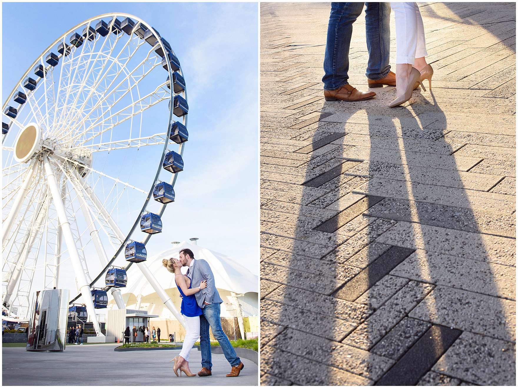 A couple stands in front of the ferris wheel at sunset during a Chicago Navy Pier engagement photography session.