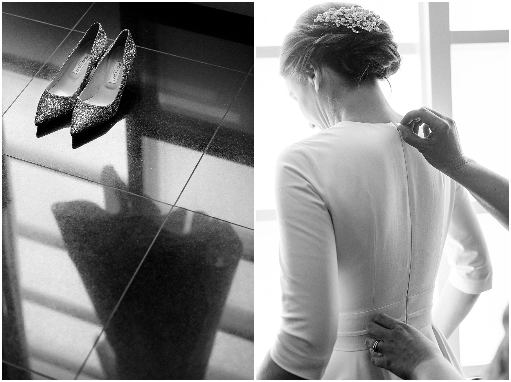 The bride gets dressed at the Sofitel Chicago, before their St. Nicholas Ukrainian Church and downtown Chicago East Bank Club wedding.