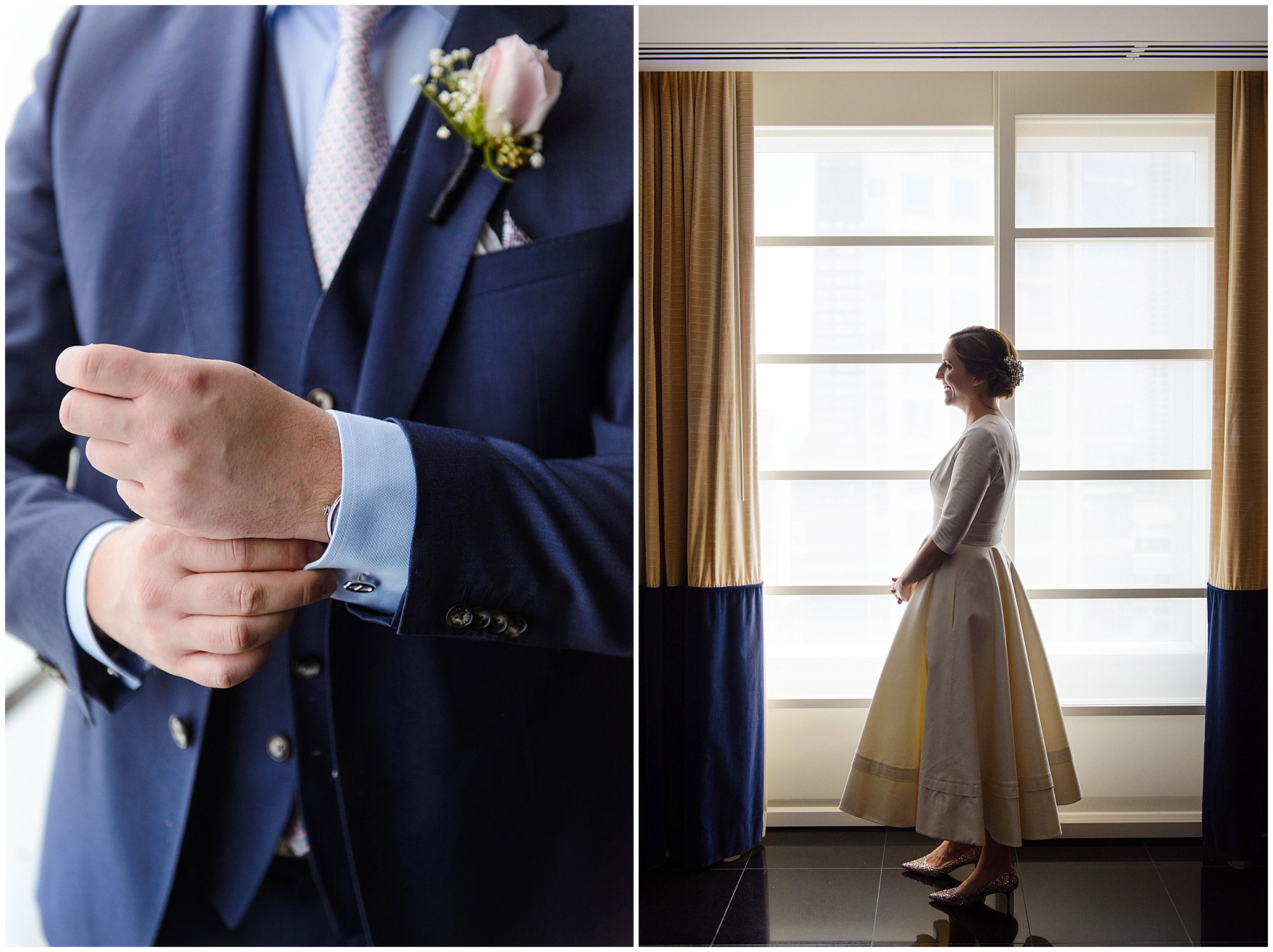 The bride and groom get ready in a suite at the Sofitel Chicago, before their St. Nicholas Ukrainian Church and downtown Chicago East Bank Club wedding.