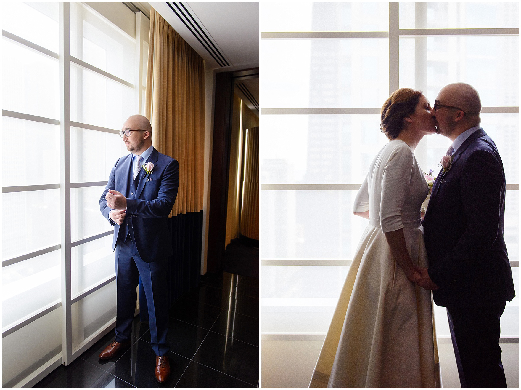 The bride and groom kiss at the Sofitel Chicago, before their St. Nicholas Ukrainian Church and downtown Chicago East Bank Club wedding.