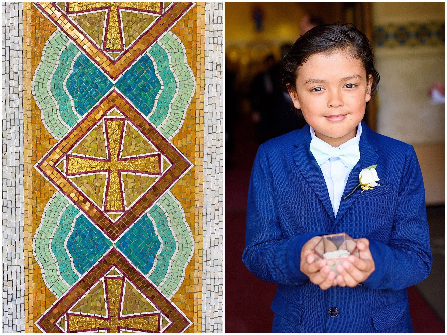 A ring bearer waits before a St. Nicholas Ukrainian Church and downtown Chicago East Bank Club wedding.