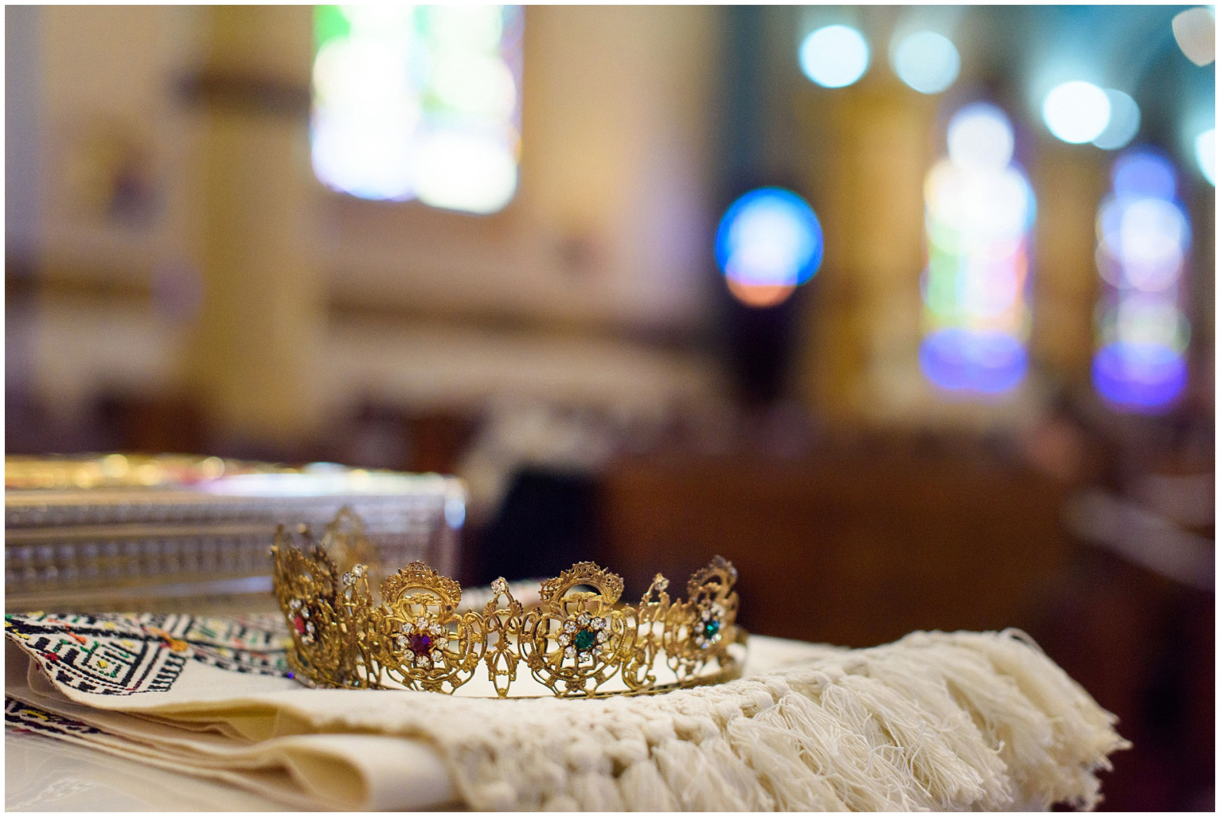 Detail of a wedding crown for a St. Nicholas Ukrainian Church and downtown Chicago East Bank Club wedding.