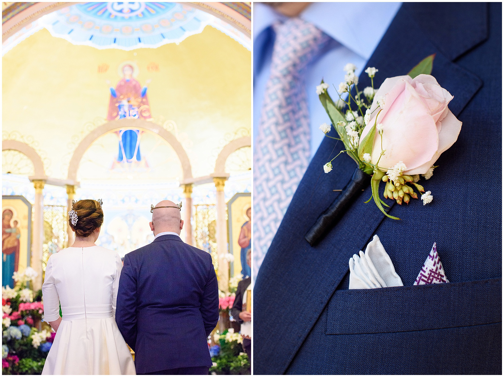 The bride and groom wear crowns during a St. Nicholas Ukrainian Church and downtown Chicago East Bank Club wedding.