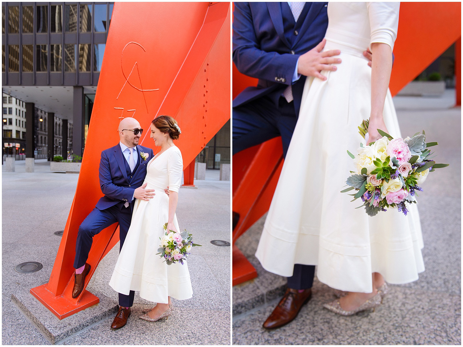 A bride and groom at the Calder sculpture, during their St. Nicholas Ukrainian Church and downtown Chicago East Bank Club wedding.