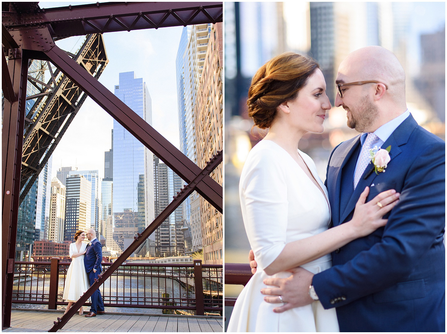 A bride and groom pose on the Kinzie Street Bridge, during their St. Nicholas Ukrainian Church and downtown Chicago East Bank Club wedding.