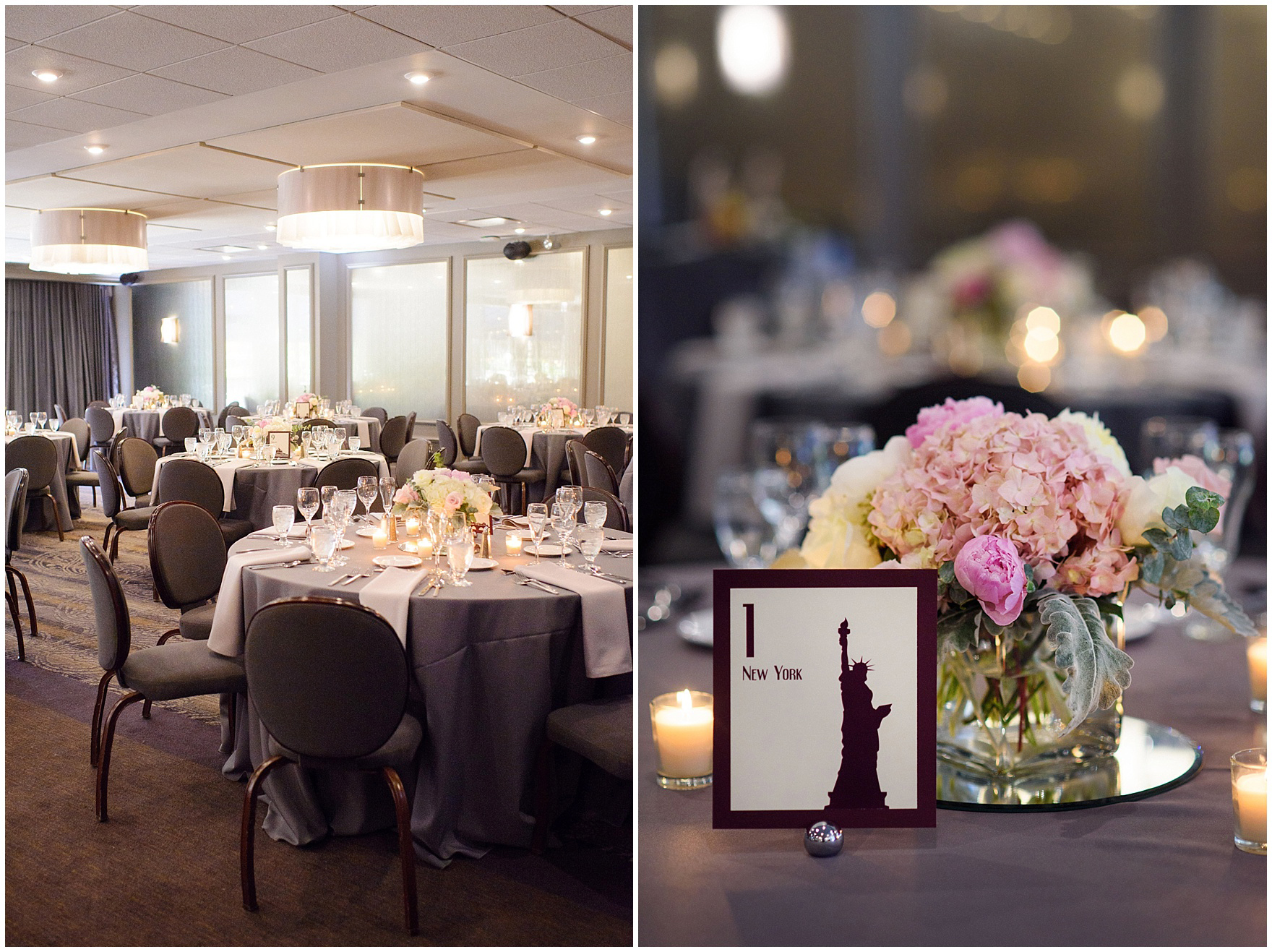 Details of the reception set up for a St. Nicholas Ukrainian Church and downtown Chicago East Bank Club wedding.