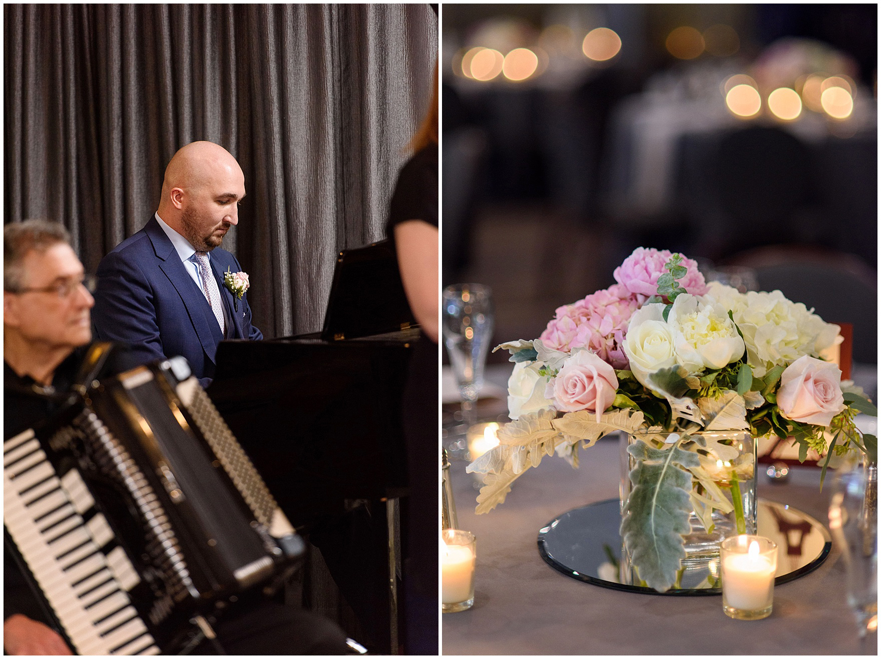 Details from a reception for a St. Nicholas Ukrainian Church and downtown Chicago East Bank Club wedding.