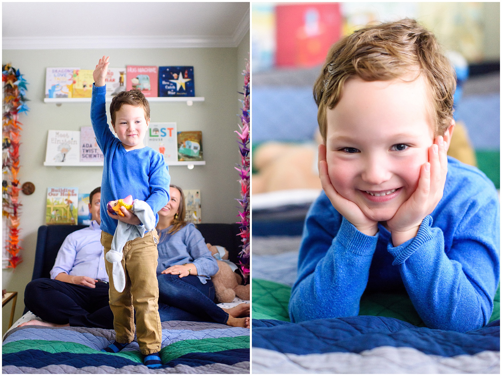 A boy jumps on his bed during an at home family session.