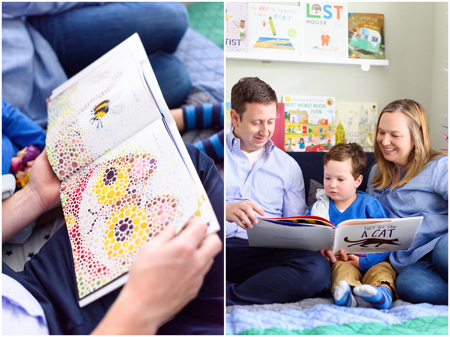 A boy reads a book with his mom and dad during an at home family session.