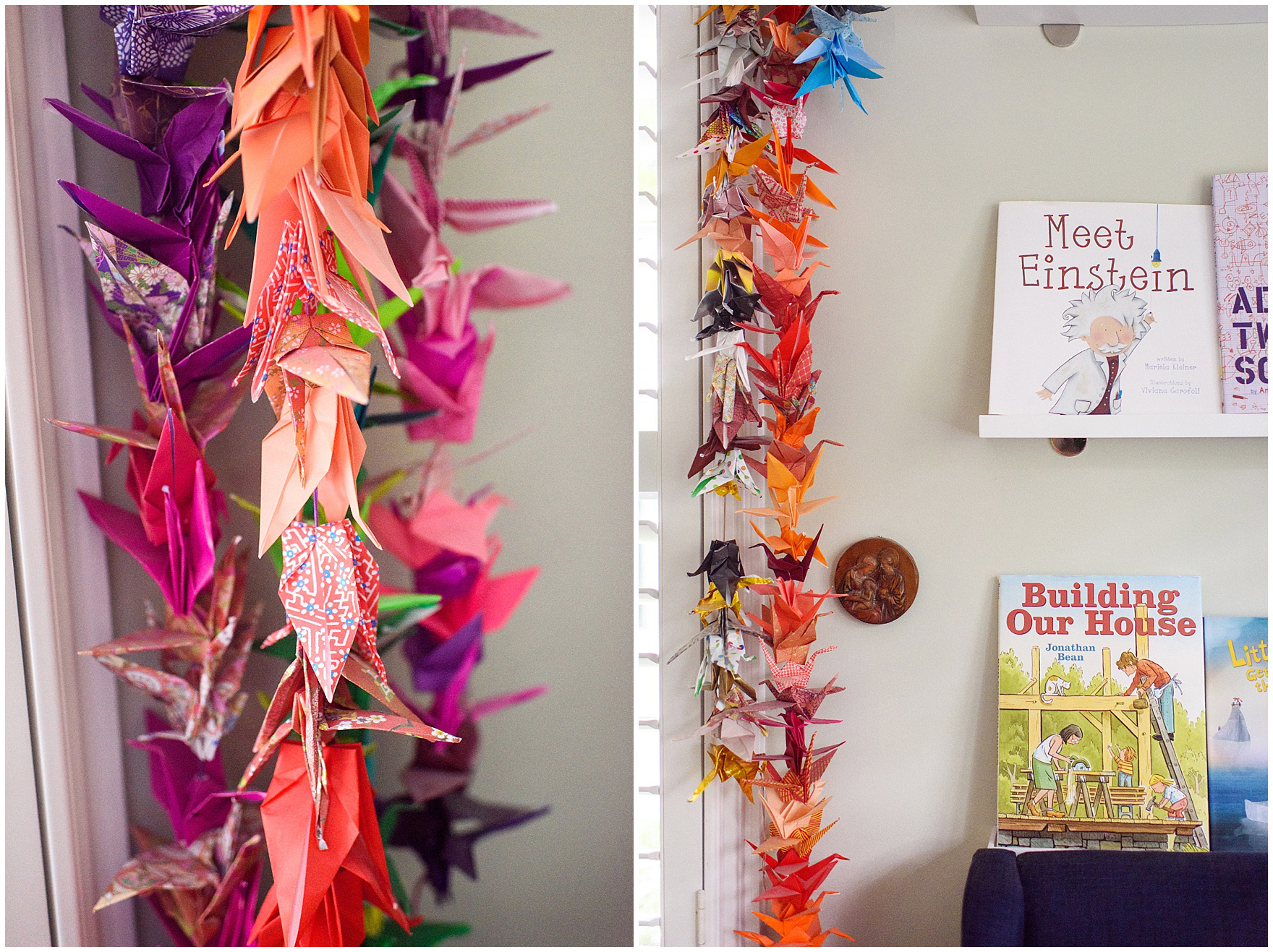 Detail shot of a garland made of one thousand paper cranes during an at home family session.