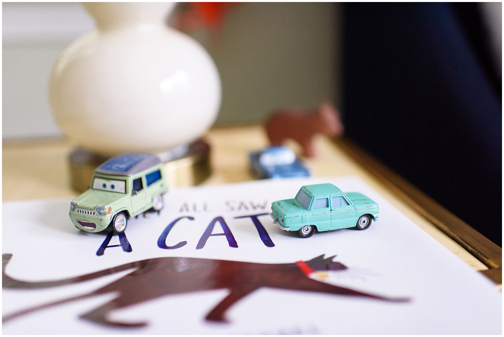 Close up detail of a young boys books and toy cars during an at home family session.