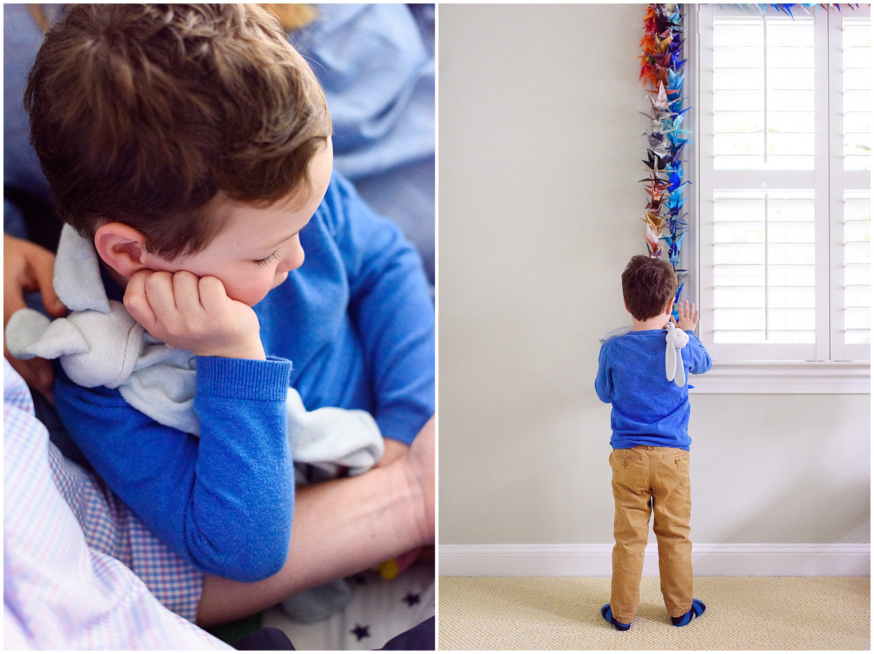 A young boy looks at a garland of a thousand paper cranes during an at home family session.