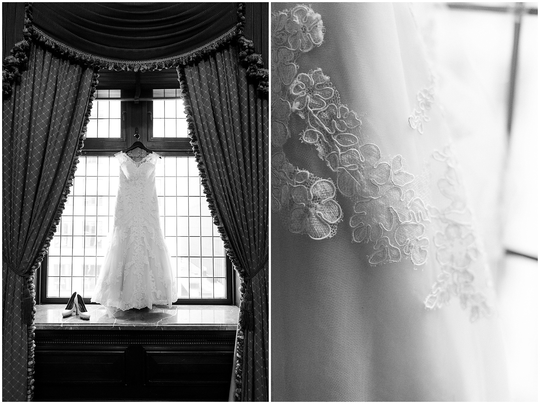 A wedding gown hangs in a majestic window before a University Club of Chicago wedding.