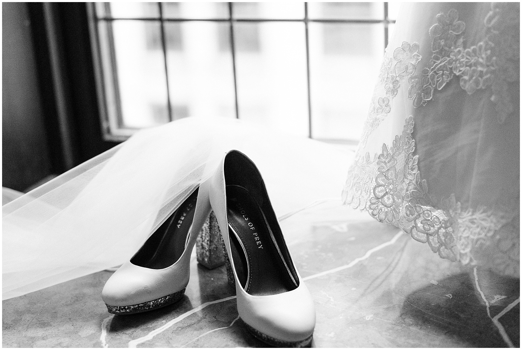 Details of wedding shoes and a veil for a University Club of Chicago wedding.