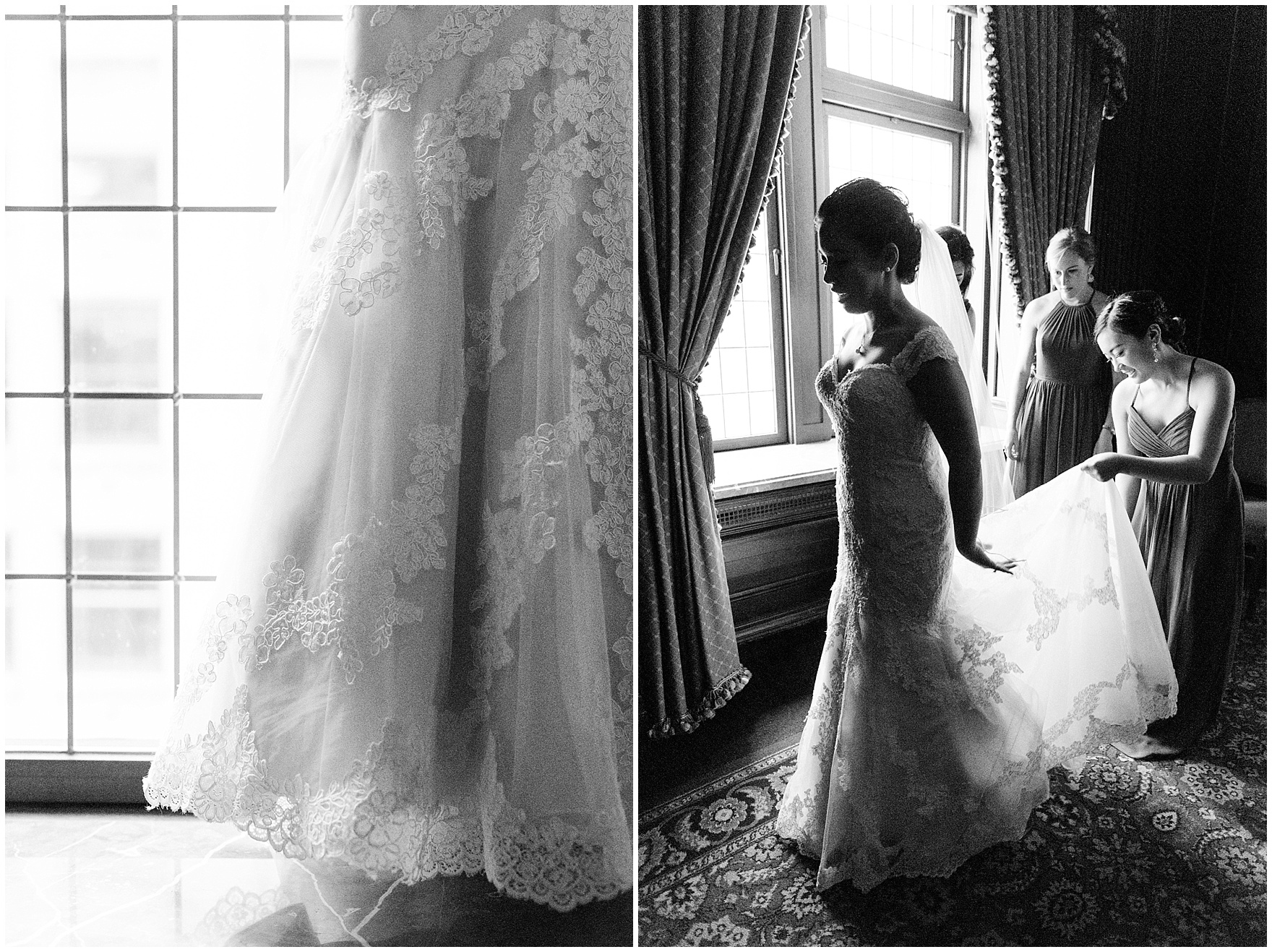 The bride and bridesmaids get ready for a University Club of Chicago wedding.
