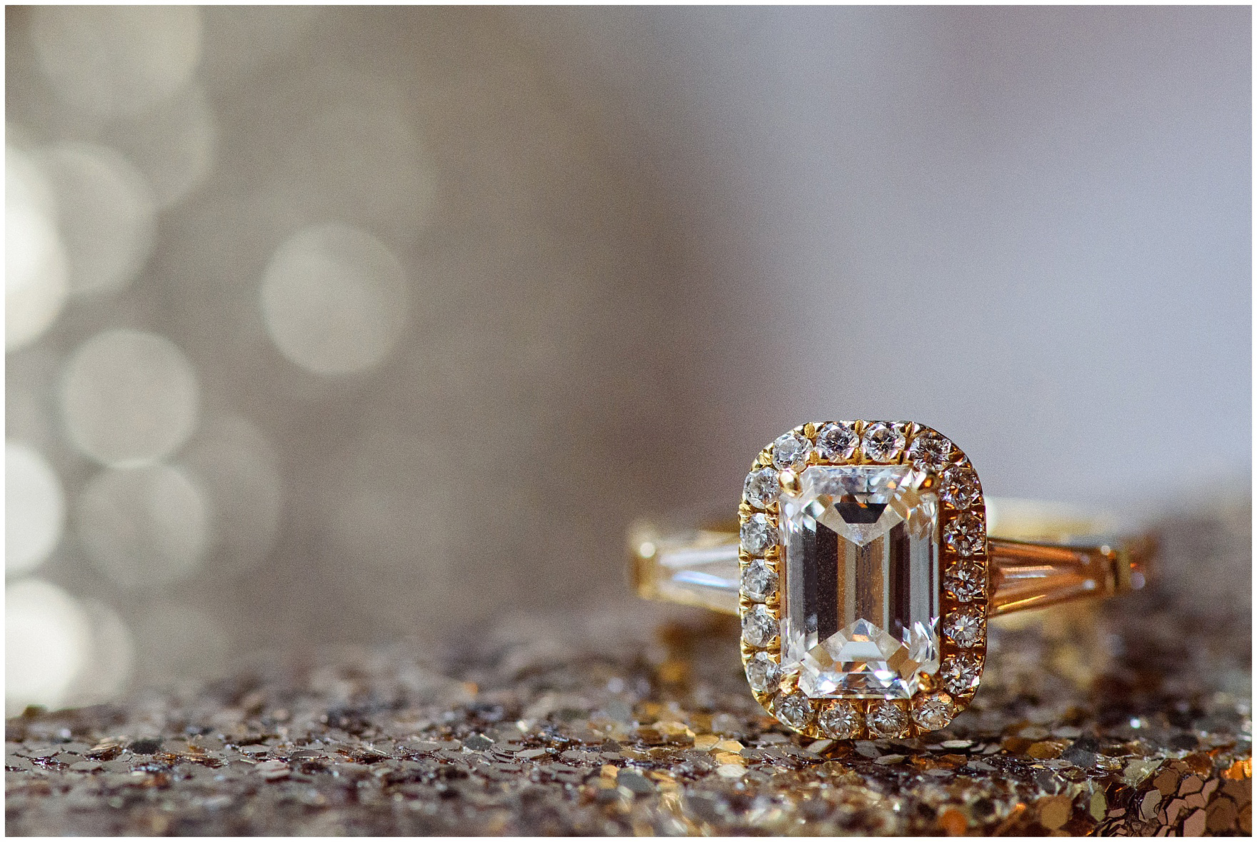 Close up detail shot of gold and diamond engagement ring before a University Club of Chicago wedding.